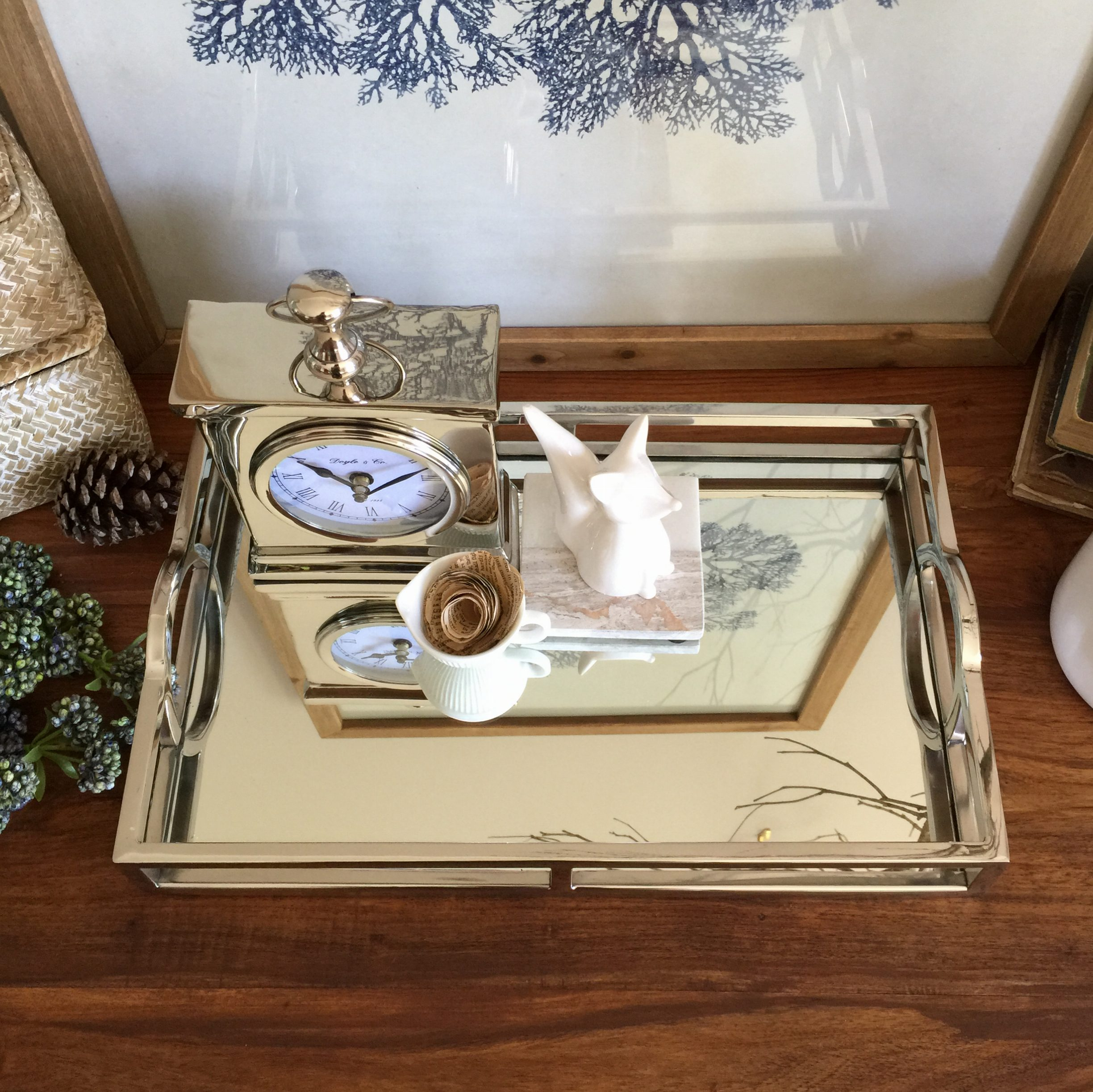 Coffee Table Tray Ebay: STUNNING Rectangle Silver Tray/with Mirror/Handles/Coffee