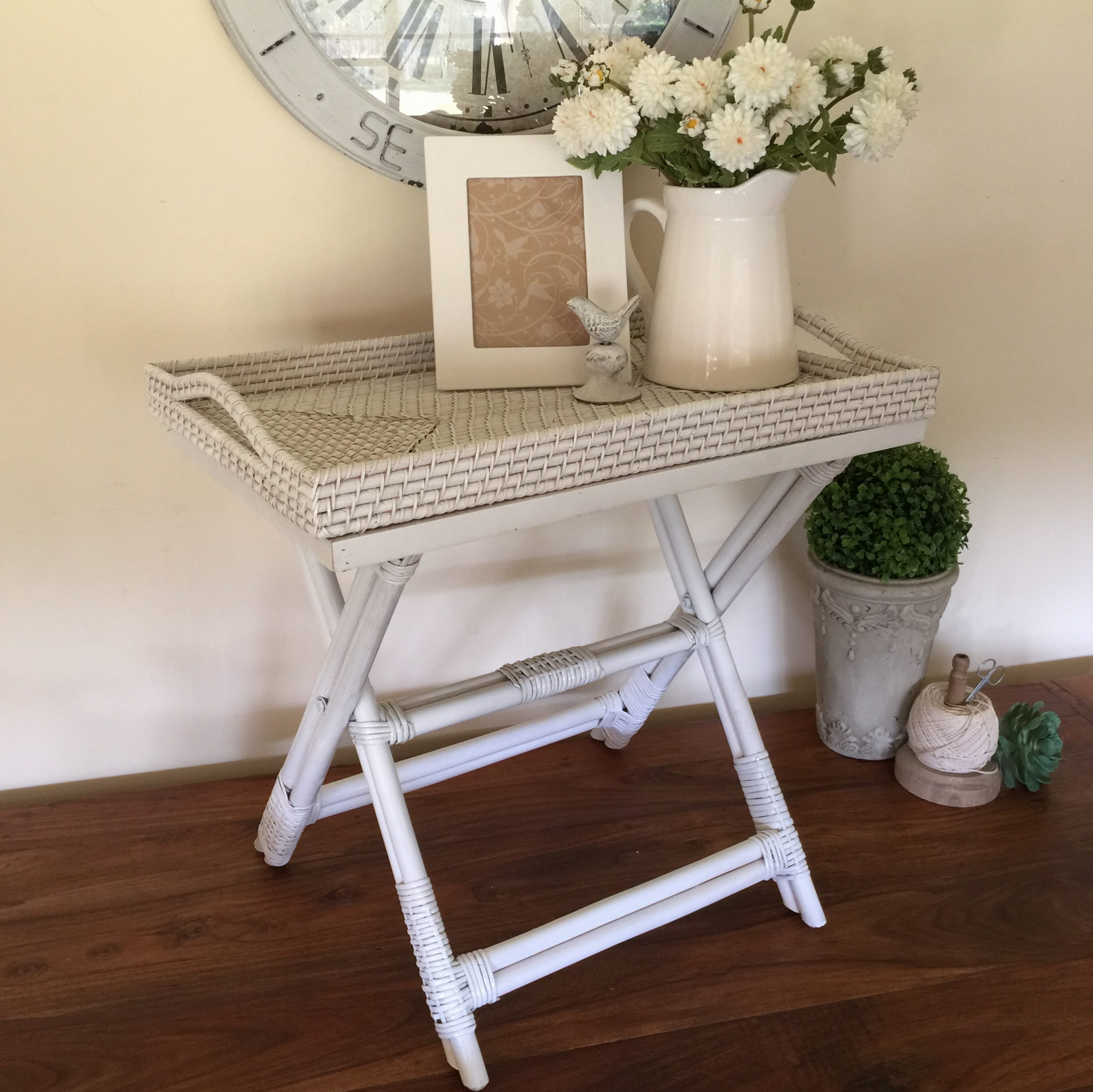 Rattan Butlers Tray Table White Humble Home