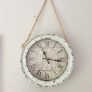 Rustic clock on Rope hanger