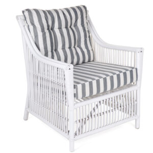 Columbus white rattan chair stripe cushion