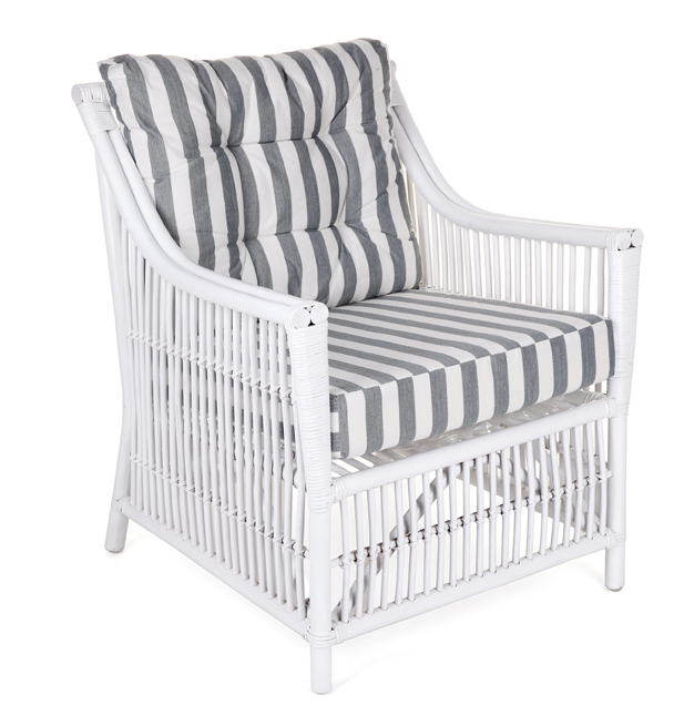 White Rattan Armchair With Striped Cushions