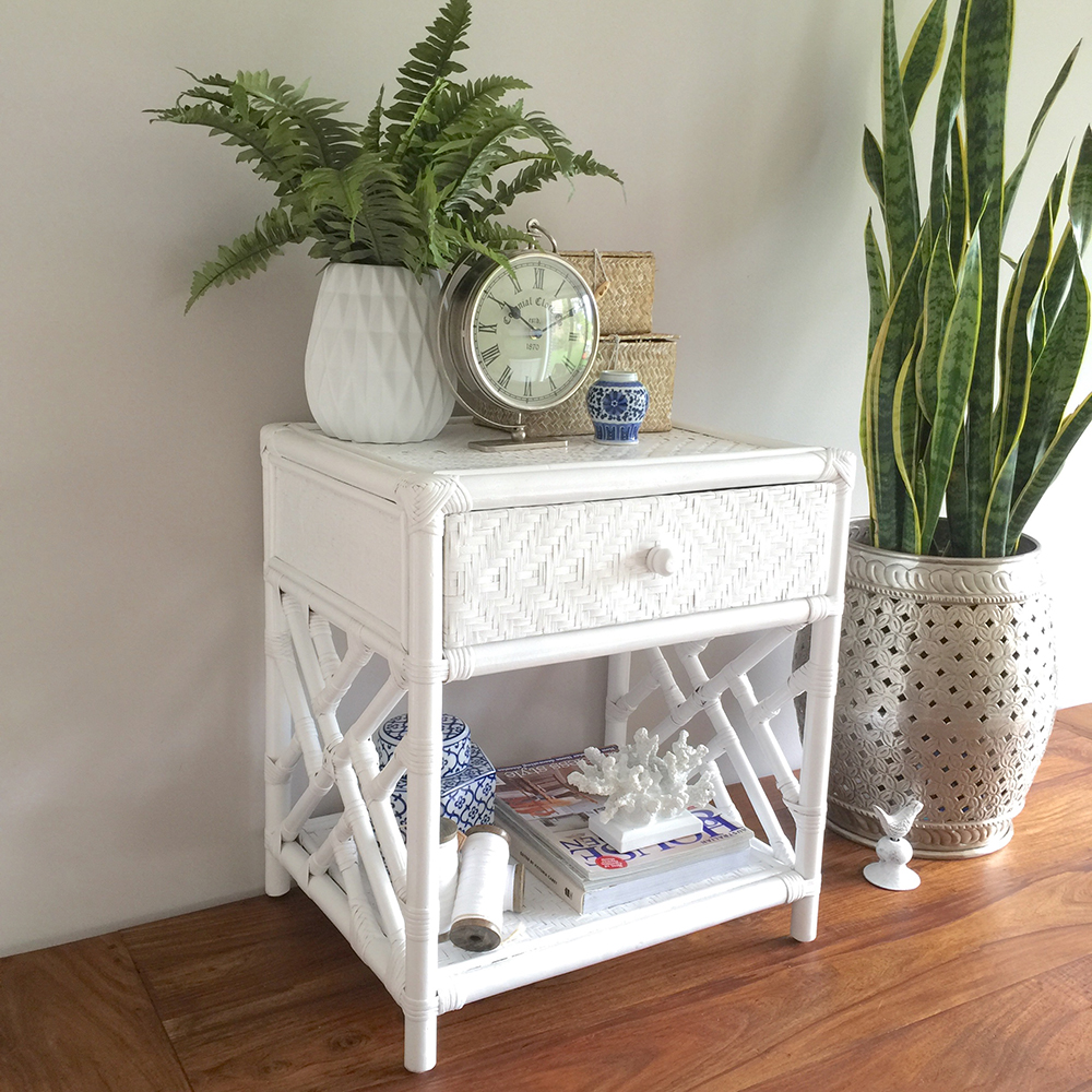 White Rattan Bedside Table With Drawer/Hamptonu0027s/Coastal/Storage Lamp Side  Table