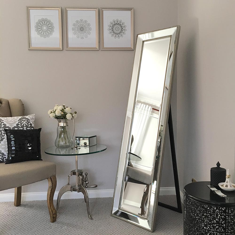 High quality silver full length cheval mirror humble home for Long mirrors for bedroom