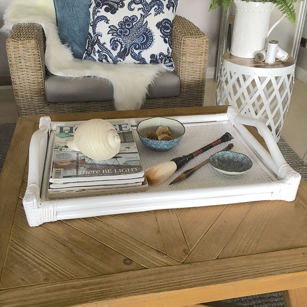 Large White Rattan Tray Coffee Table Or Serving Tray Hampton 39 S Coastal Farmhouse Ebay