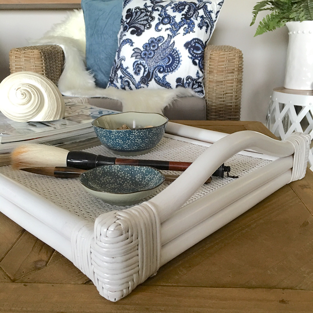 Hampton Bay White Wicker Coffee Table: Large White Rattan Tray/Coffee Table Or Serving Tray