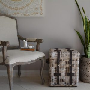 White rattan trunk side table