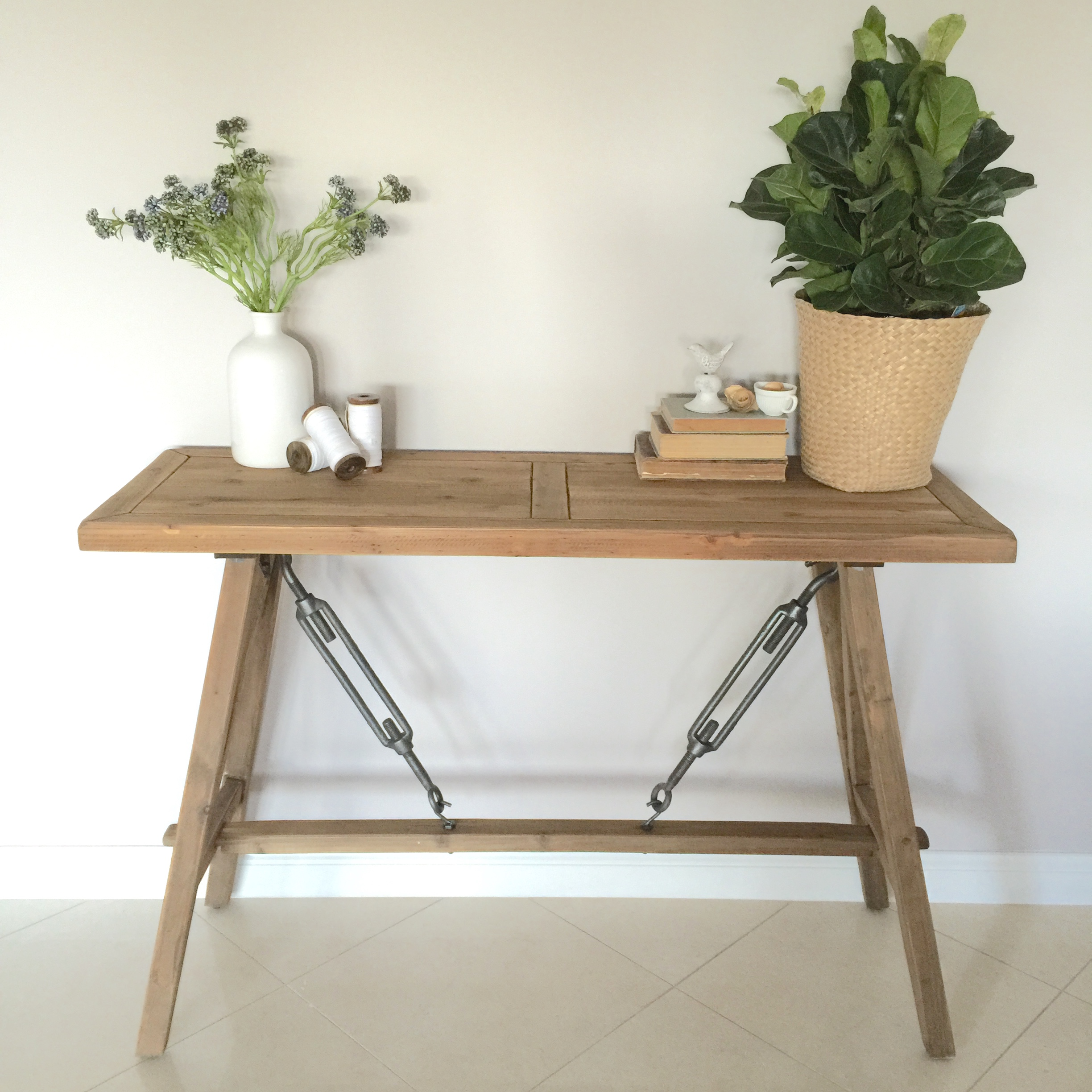 Rustic Timber ConsoleHall TableStandShelfHamptonsFrench