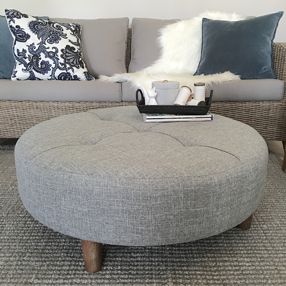 Large grey tufted ottoman round fabric coffee table hampton 39 s coastal scandi ebay Large ottoman coffee table