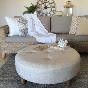Round oatmeal coffee table ottoman