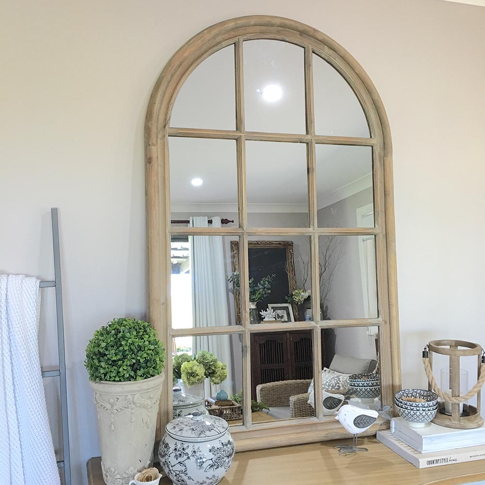 Rustic Wooden Arch Window Mirror Vintage Window Panes