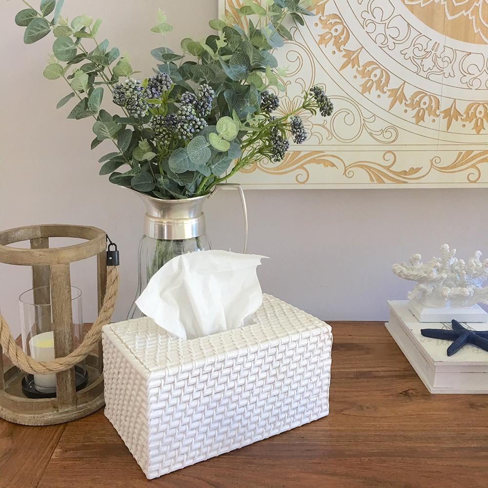 White rattan tissue box cover home decor bathroom hampton - White wicker bathroom accessories ...