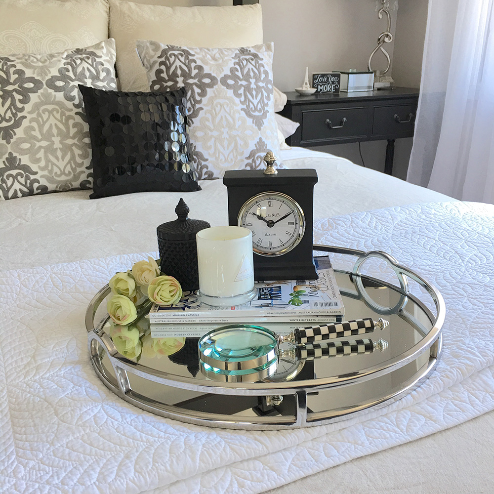 Stunning round silver tray with mirror handles coffee for Bedroom coffee table