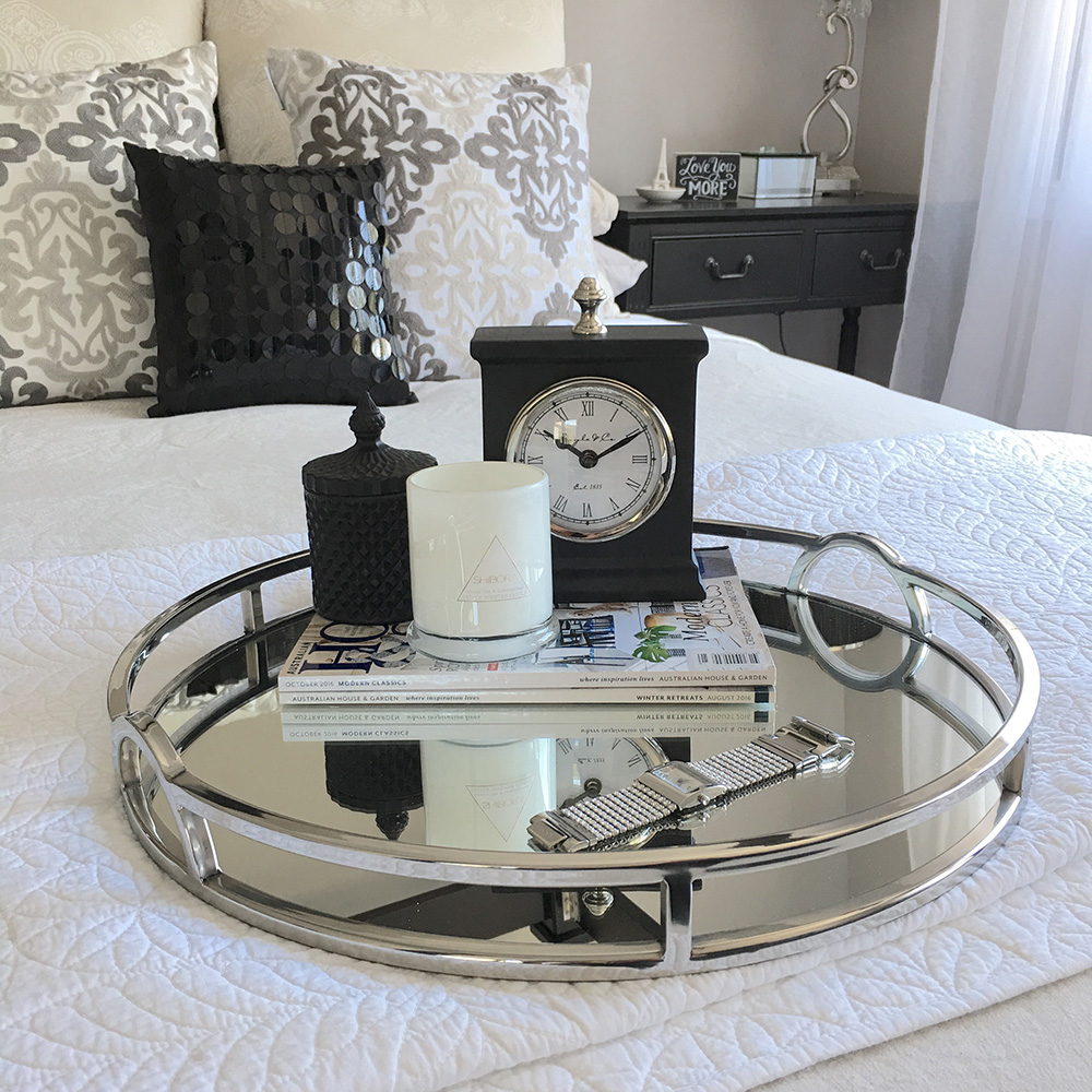 Round Silver & Mirror Tray with Arch Handle