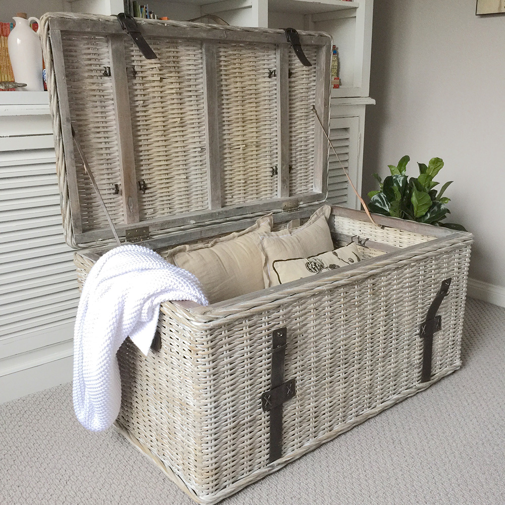 Large Whitewash Rattan Trunk With Leather Straps Humble Home