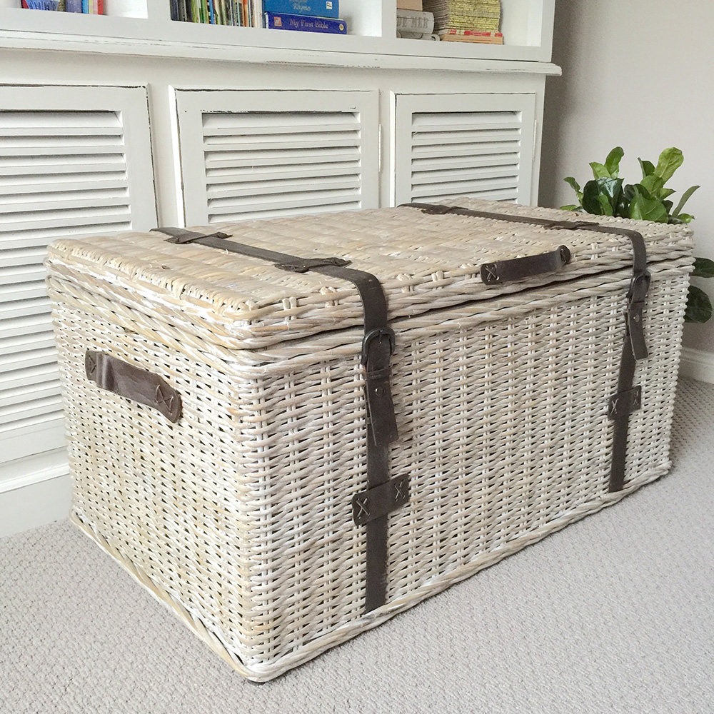 Huge Whitewash Rattan Trunk Coffee Table Hampton 39 S Coastal Shoe Storage Toy Box