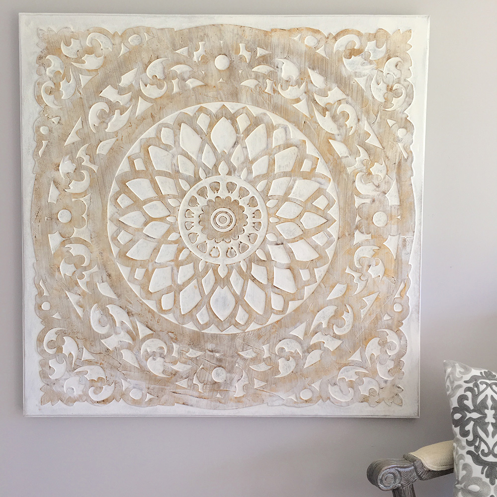 white mandala oil painted canvas humble home. Black Bedroom Furniture Sets. Home Design Ideas