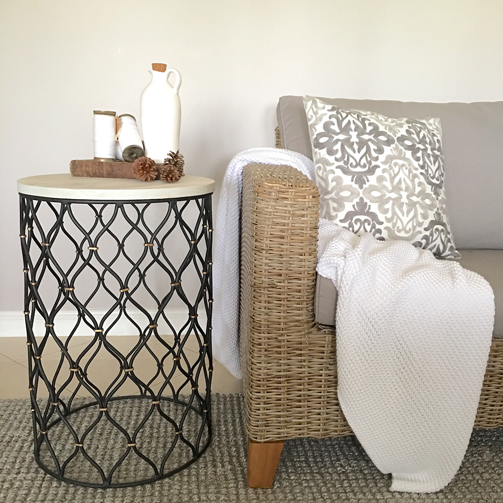 Black Metal Side Table With Rustic White Timber Top