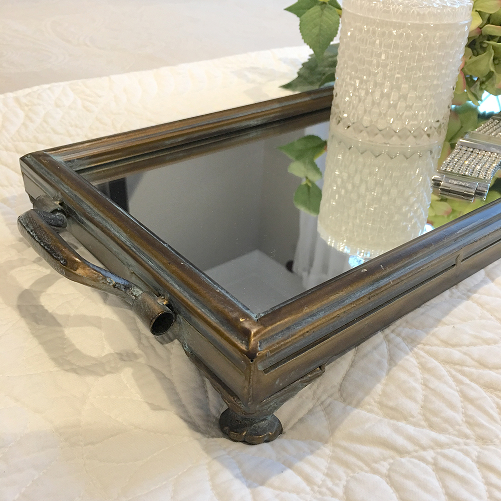 Stunning Long Metal Tray With Mirror Dark Frame Handle Coffee Table Tray Ebay