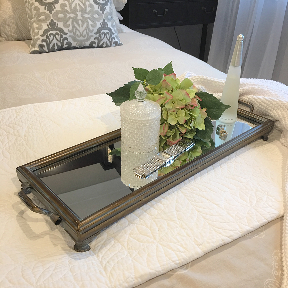 Stunning rectangle metal tray with mirror humble home for Long rectangular candle tray