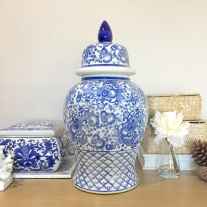 Blue and White Ceramic Temple Jar