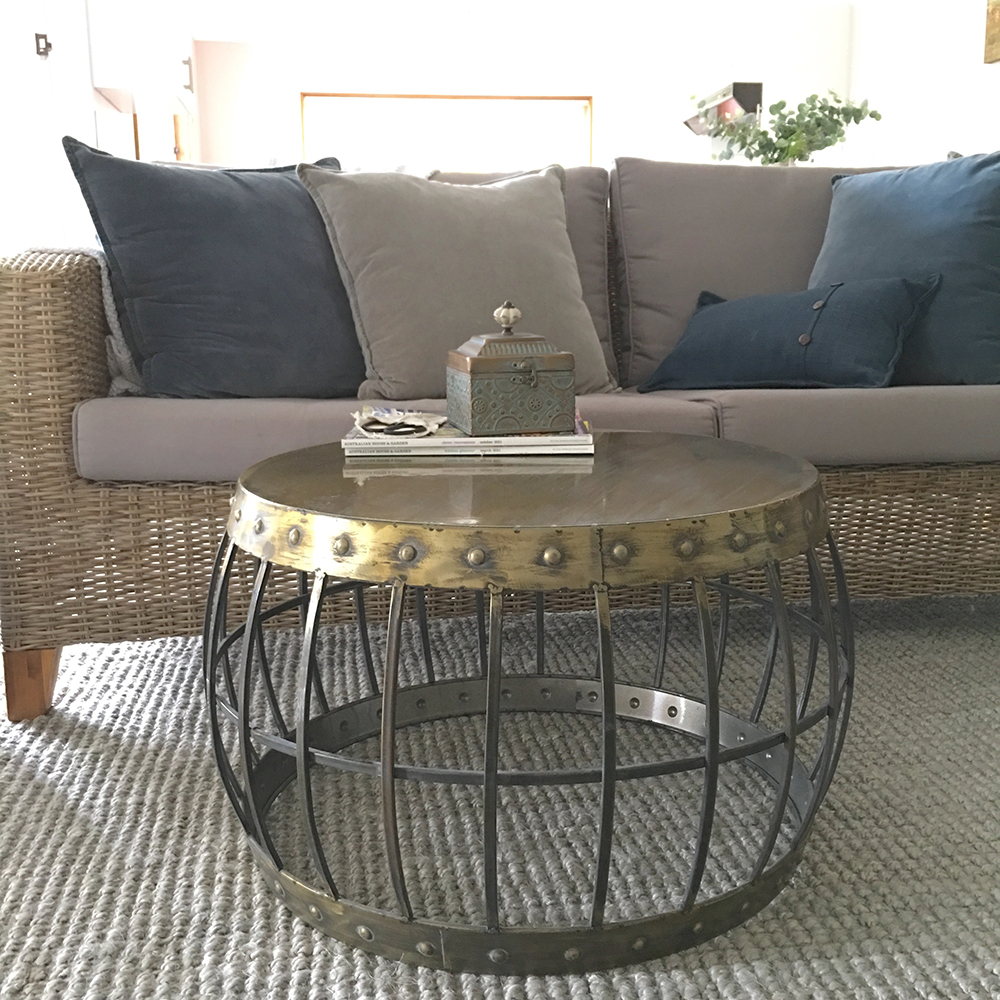 Dillon Barrel Style Coffee Table/Antique Gold Metal Table