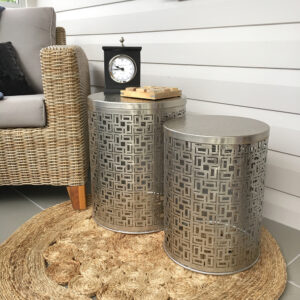 Set of 2 aluminium silver side tables