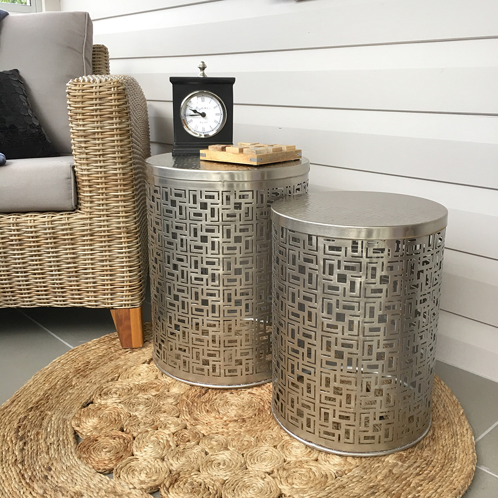 Set Of 2 Geometric Silver Side Tables