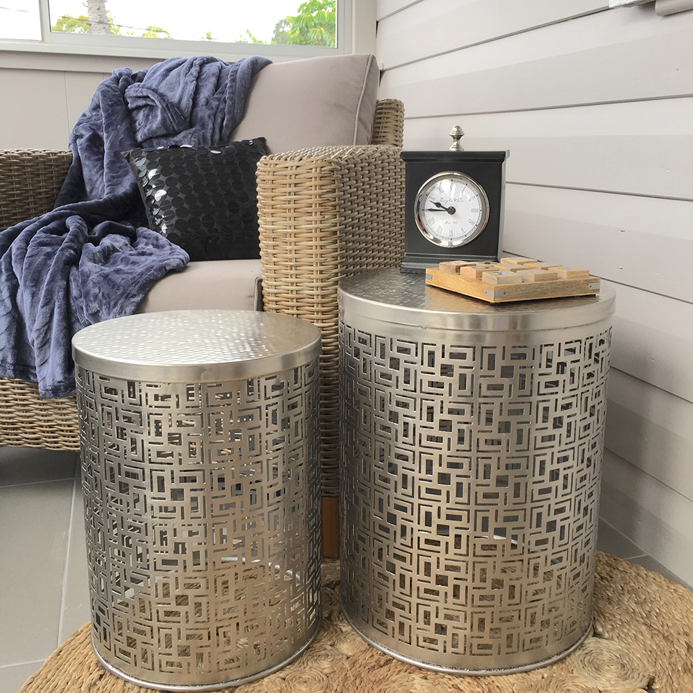 Set Of 2 Luxe Silver Metal Side Tables/Handmade/Coffee