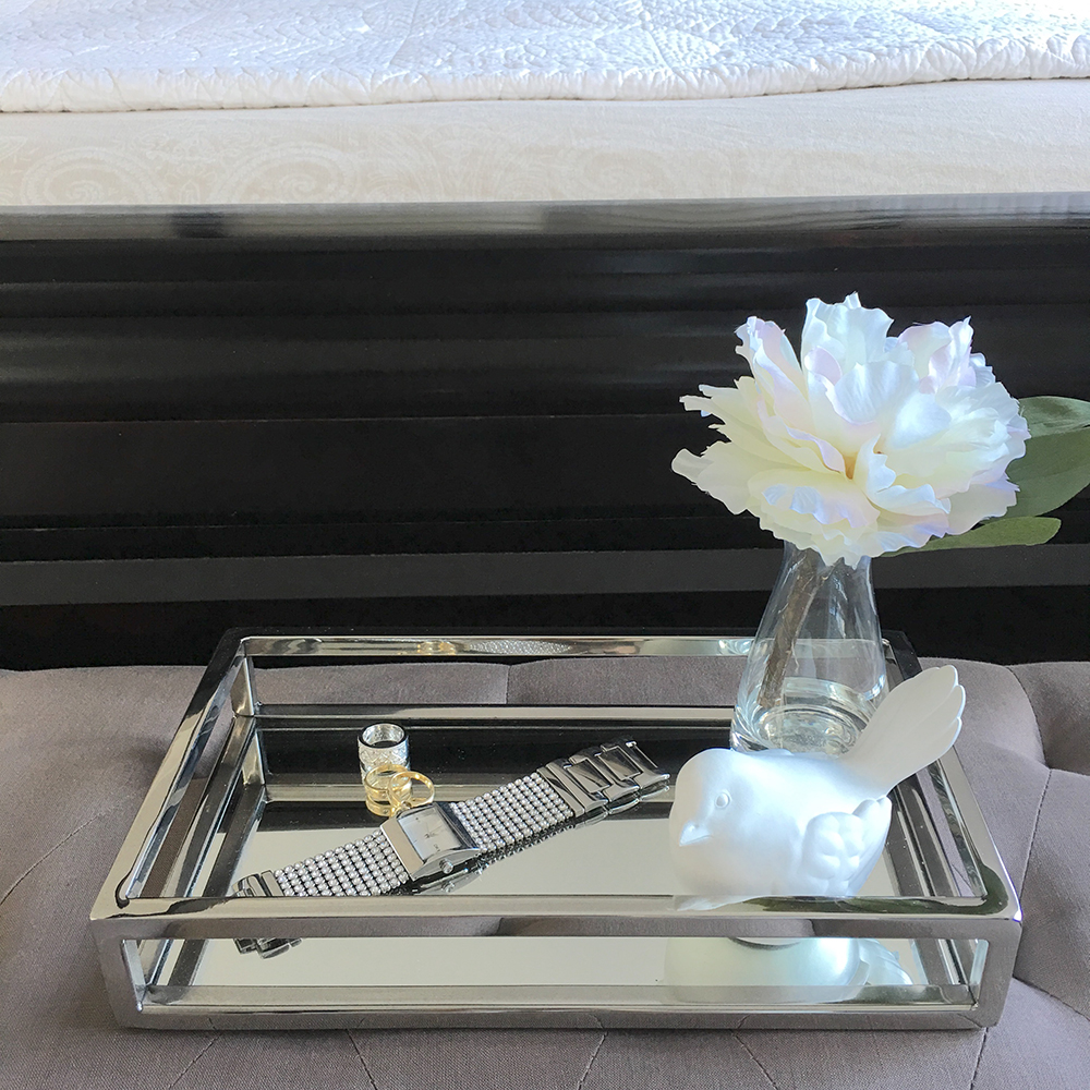 Mirrored Tray For Coffee Table: STUNNING Rectangular Silver Tray/Small/Mirror/Coffee Table