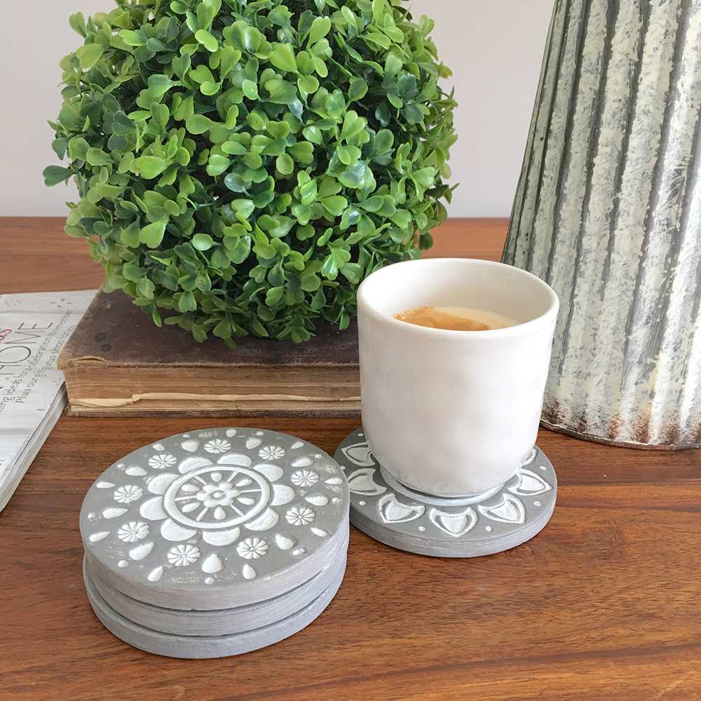 Set Of 4 Grey Coasters White Mandala Design Drink Coaster