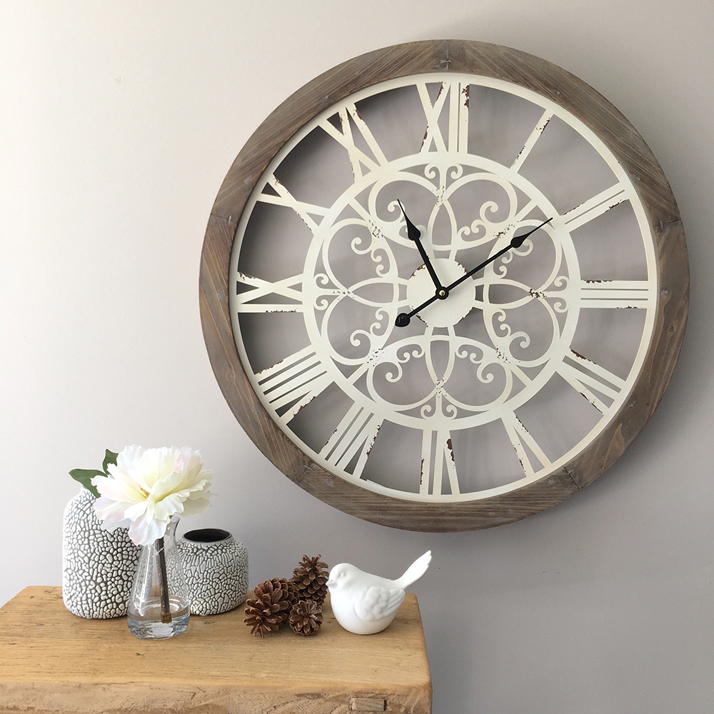 Wall Clock With Scrolling Metal Detail 60cm Humble Home