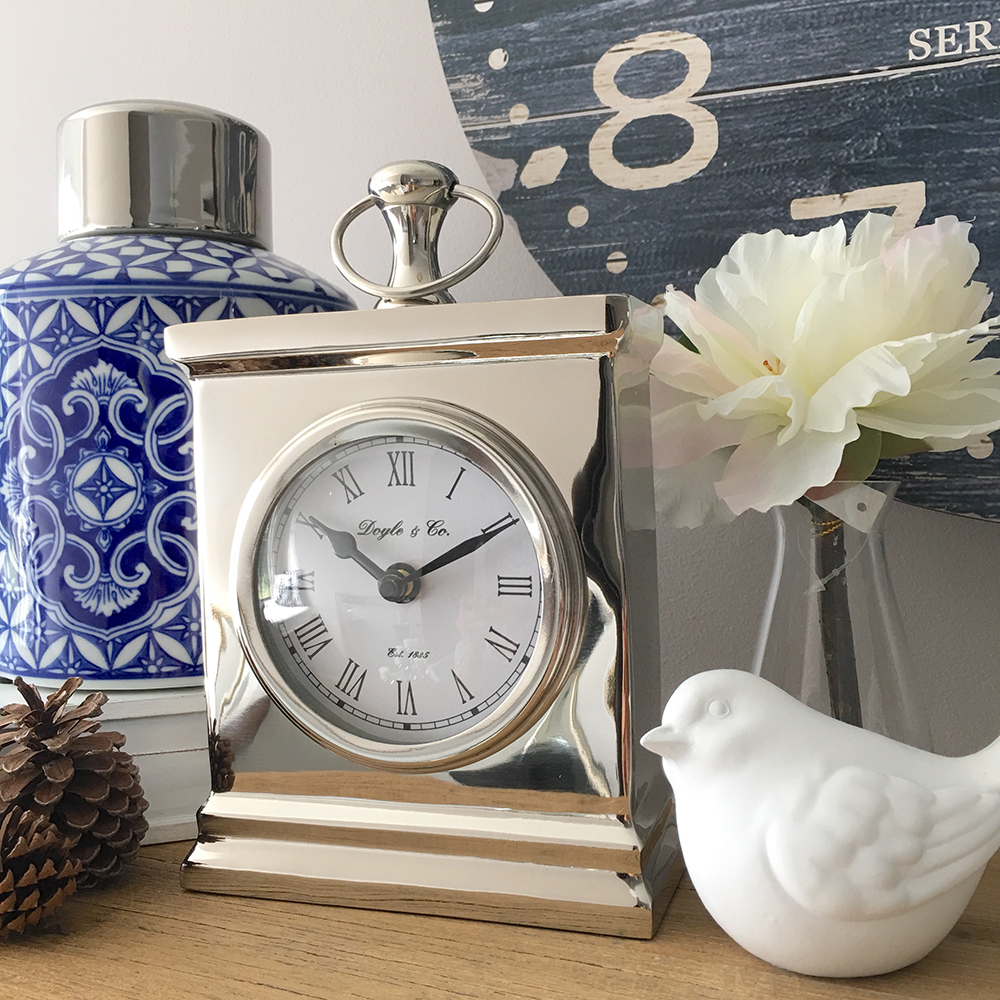 Small Polished Silver Mantle Clock Humble Home