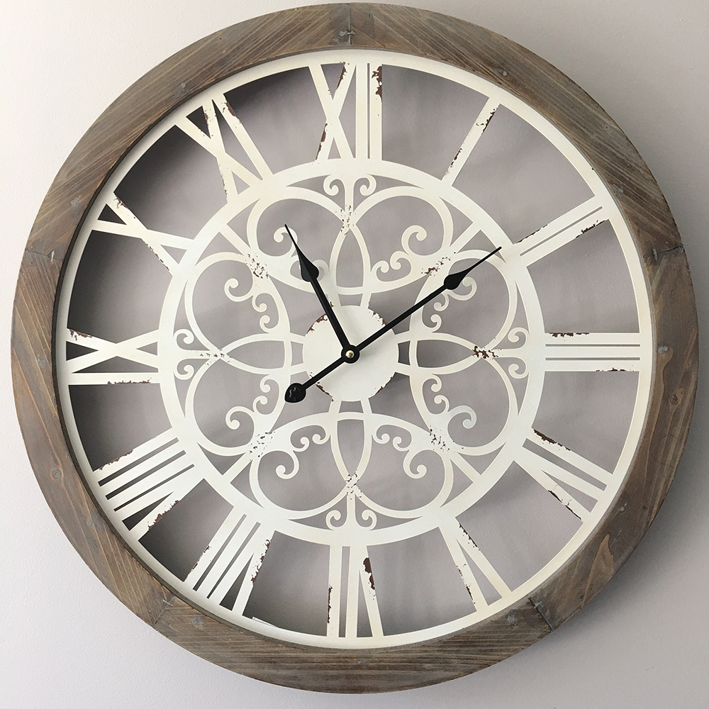 Large Wood Wall Clock With Metal Detail 60cm Rustic