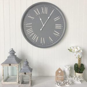 grey wall clock with numerals u2013 huge 80cm