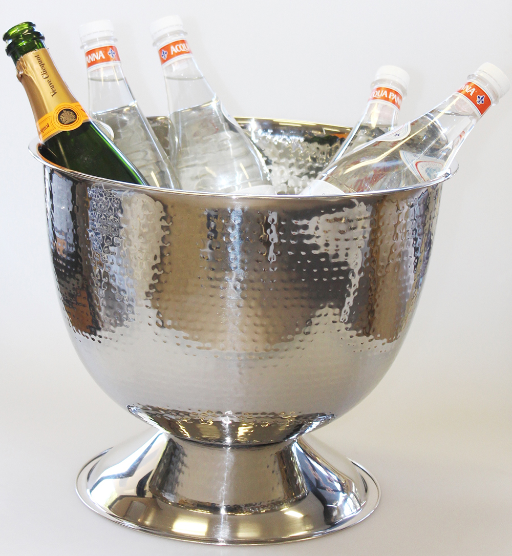Large Silver Hammered Champagne Bucket Tub Humble Home