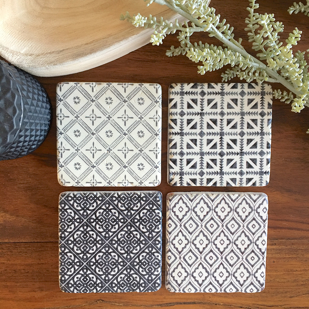 Set of 4 Pretty Black Patterned Coasters - Humble Home