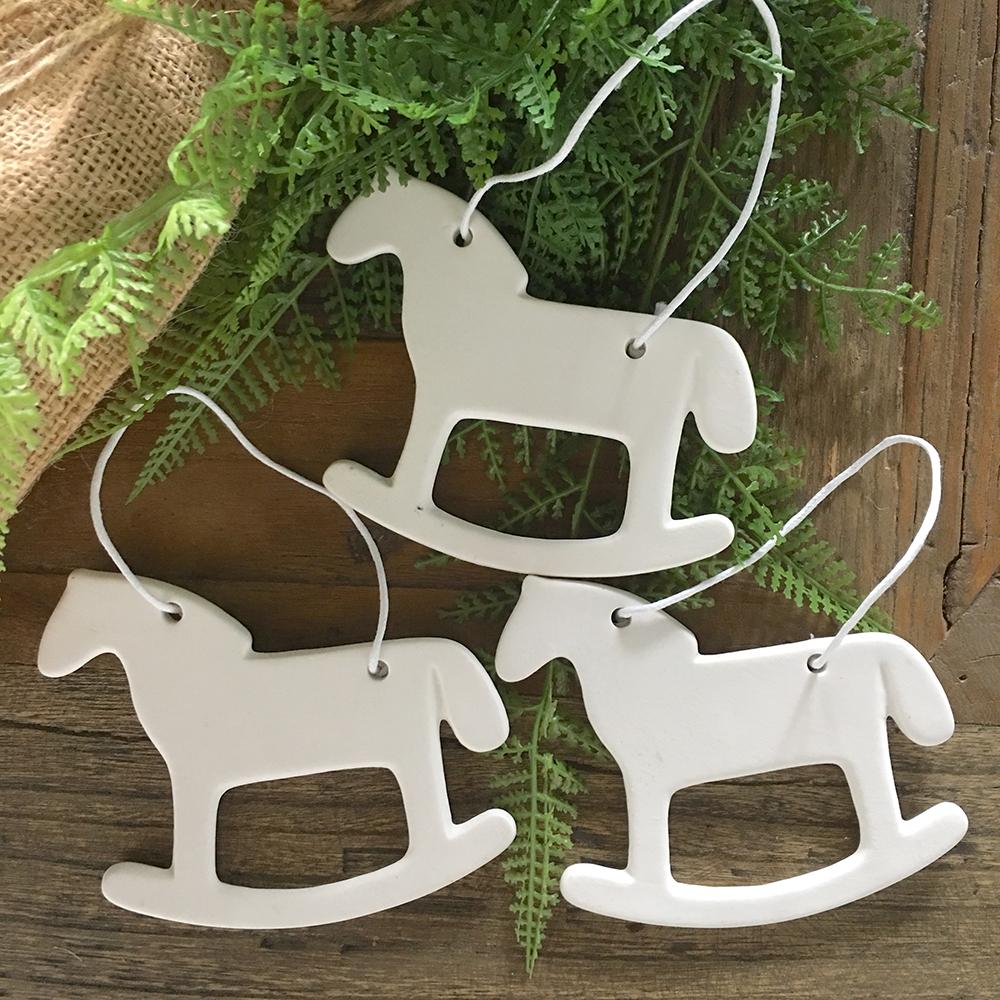 Set of 3 Porcelain Christmas Decorations - Rocking Horse - Humble Home