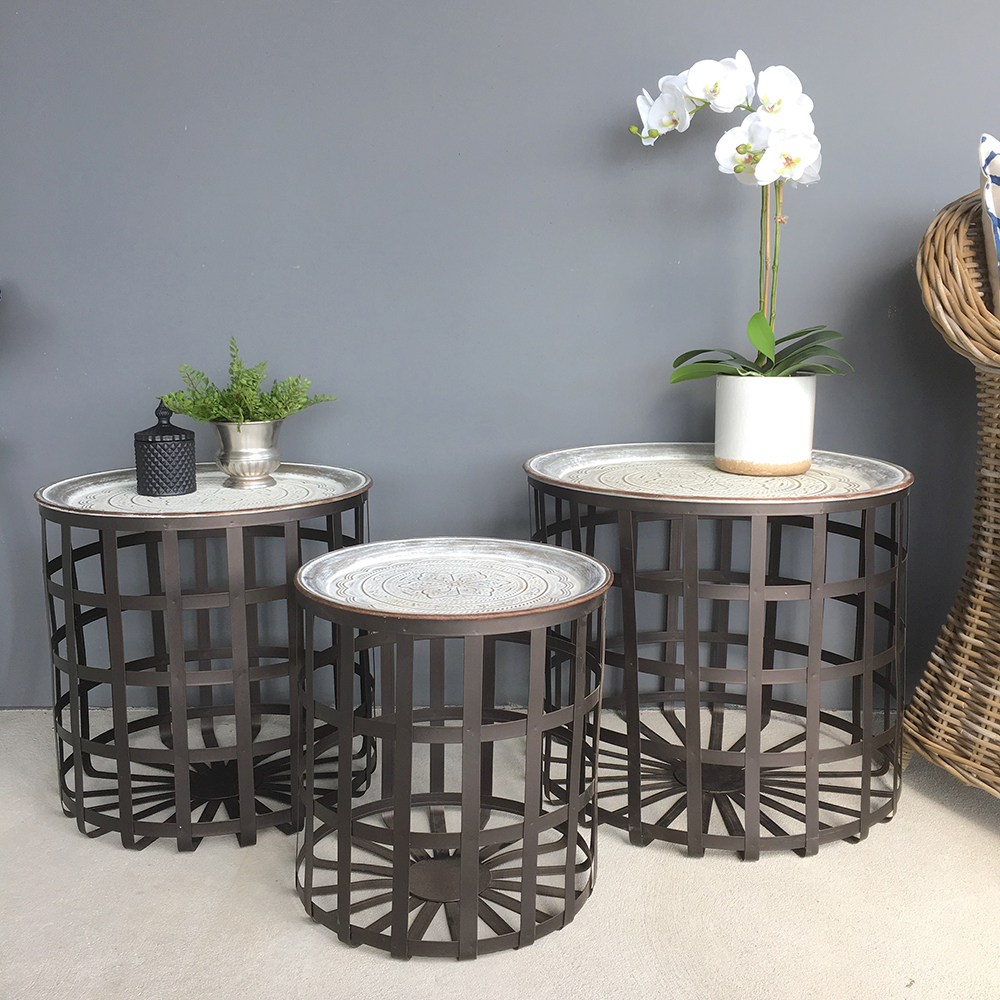 Set Of 3 Pressed Metal Side TablesTray TopCoffee Table