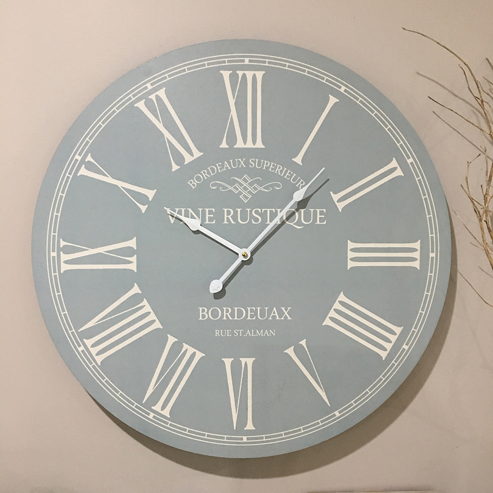 Large 58cm Duck Egg Blue Wall Clock Humble Home