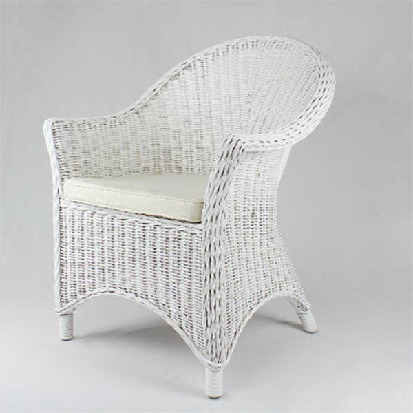 White Rattan Upright Armchair - Humble Home