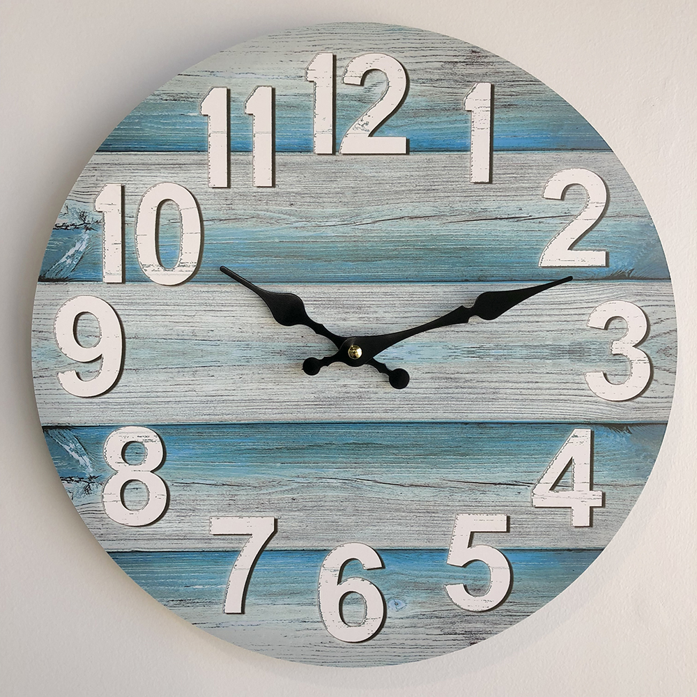 34cm Wall Clock Teal Plank Look Humble Home