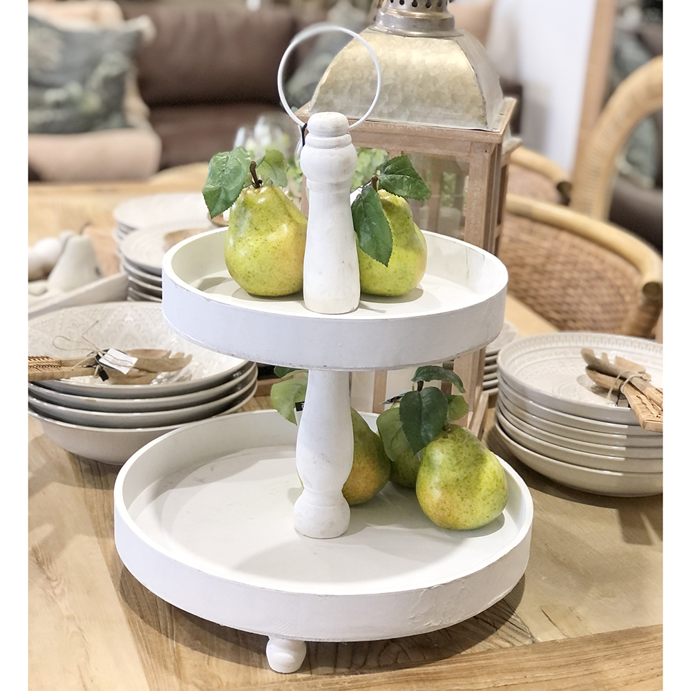 White 2 Tier Wood Stand Humble Home