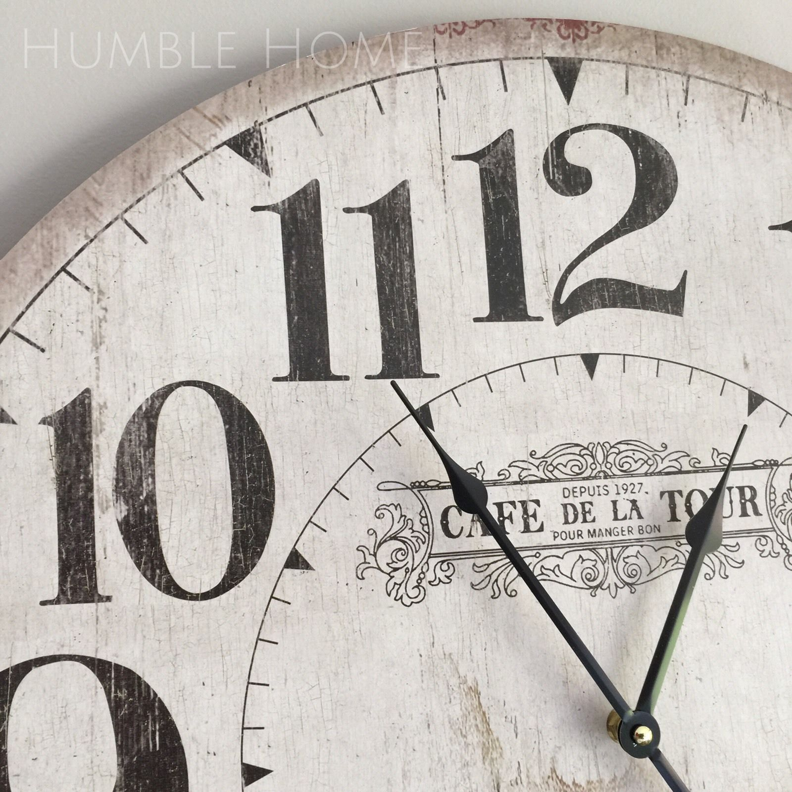 Delightful Wall Clocks For Kitchen Modern #2: Large-60cm-Vintage-Rustic-Look-White-Wall-ClockFrench-ProvincialHamptons-141944025451-3.jpg