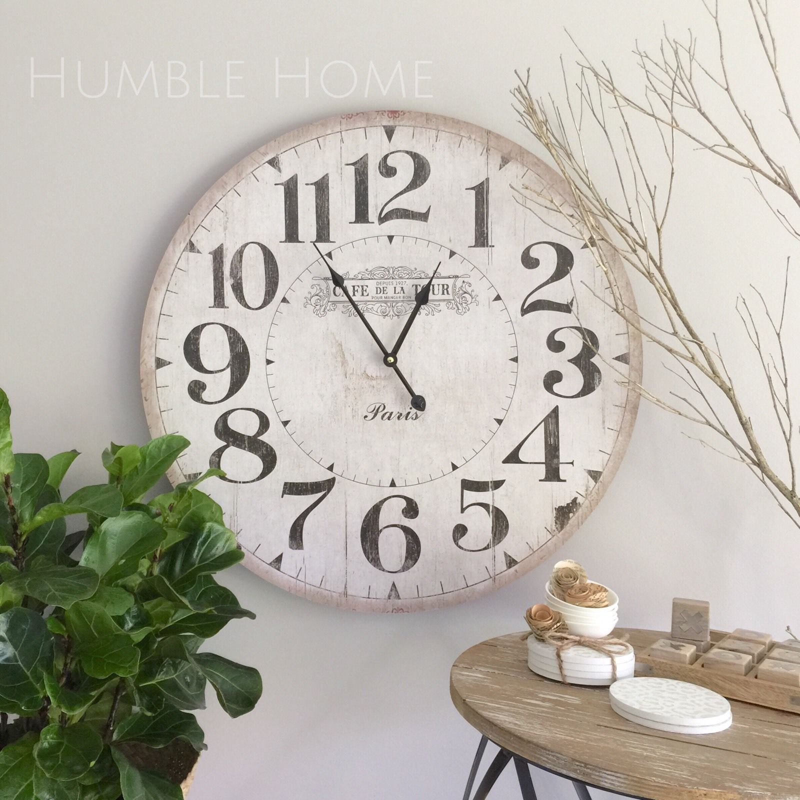 Large 60cm Vintage Look White Wall Clock Humble Home