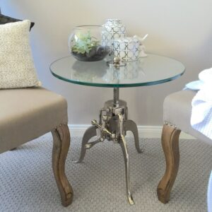 High-Quality-Metal-Glass-Round-Crank-Side-TableBedsideHamptons-Industrial-131762974632