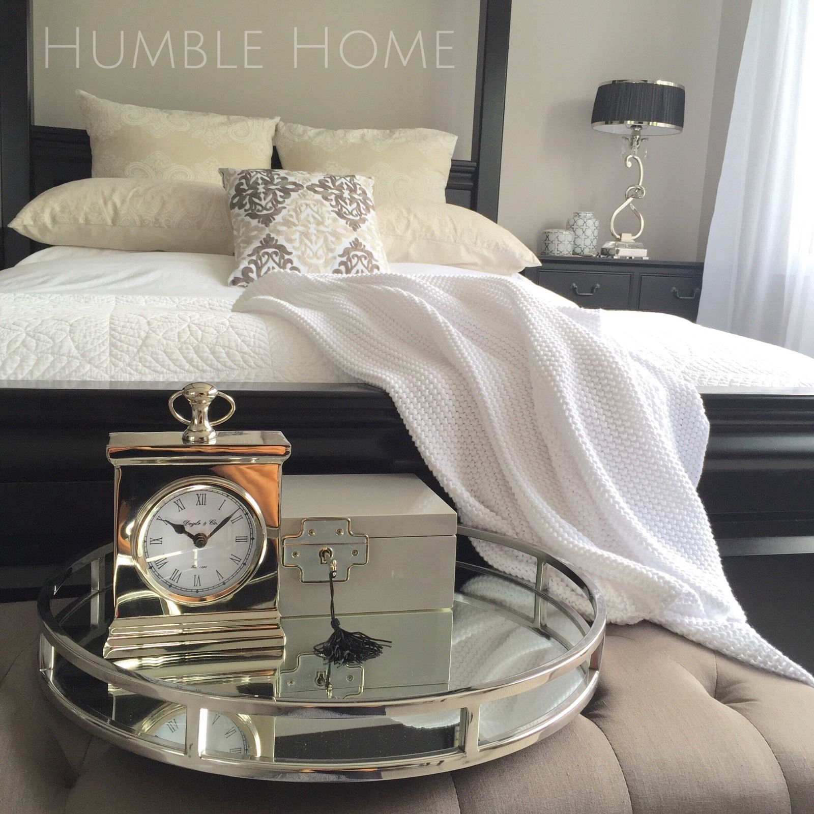 Bedroom Coffee Table: STUNNING Round Silver Tray/with Mirror/Handles/Coffee