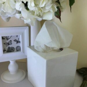 Classic-Plain-White-Ceramic-Tissue-Box-Cover-Home-DecorBathroom-Storage-141830164679