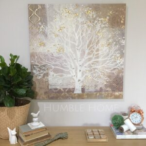 Huge-Square-Canvas-80x80cm-Neutral-Tree-of-Life-DesignGold-Highlights-131694875609